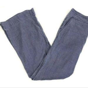 Level 99 Anthropologie Linen Blend Flare Leg Pants